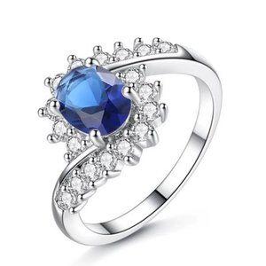 Dainty Blue Crystal CZ Silver Ring